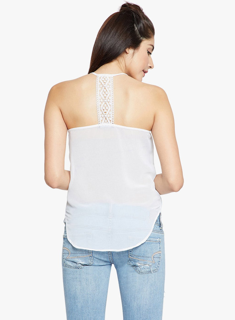 Madame White Embroidered Strappy Top