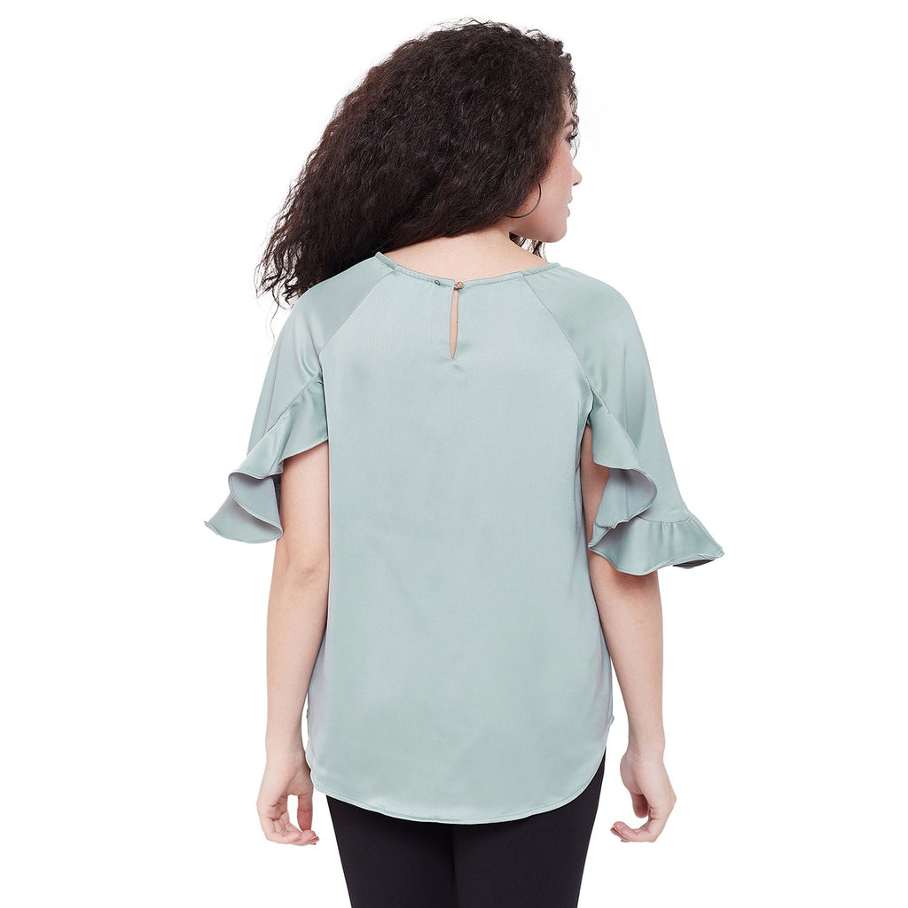 Madame Round Neck Solid Casual Top