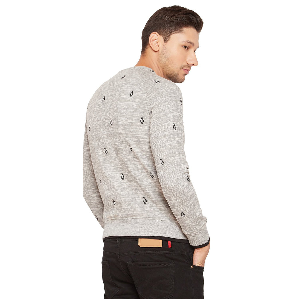 Mens Round Neck Embroidered Sweatshirt