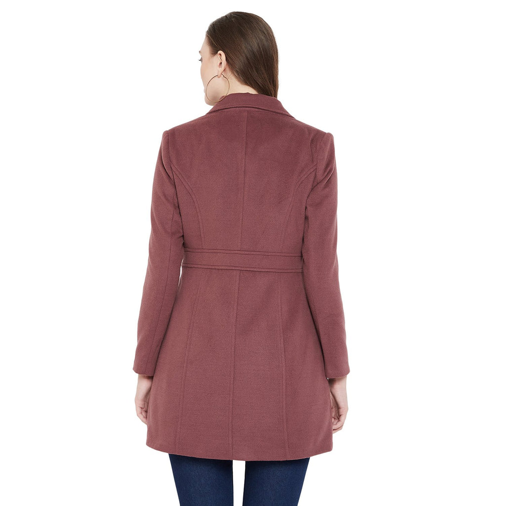 Madame Onion Pink Color Long Coat For Women
