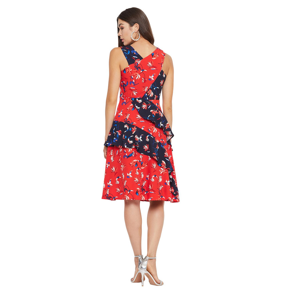 MADAME RED Color Dress For Womens