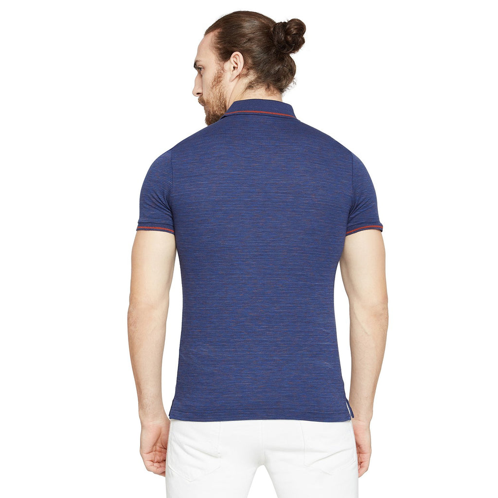 Navy Blue Textured Regular Fit Polo T-Shirt