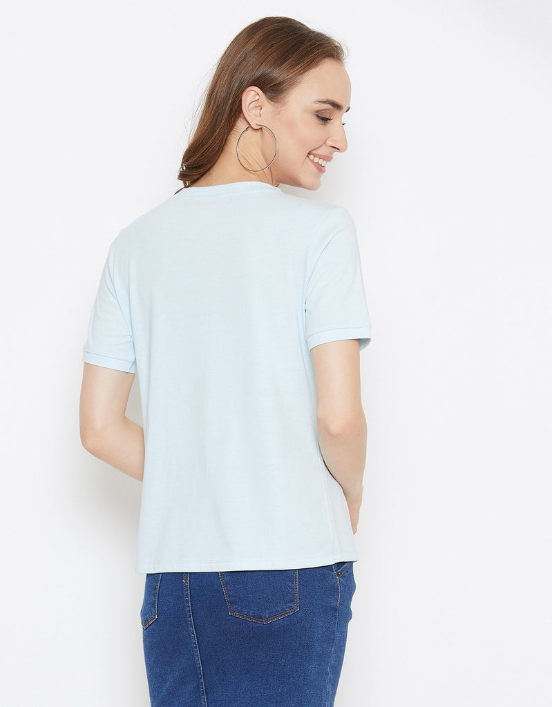 Madame Sky Blue Color Top  For Women