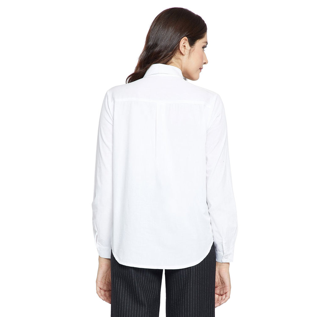 Madame Women White Solid Casual Shirt