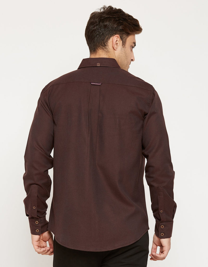 CAMLA Men Brown Regular Fit Solid Casual Shirt