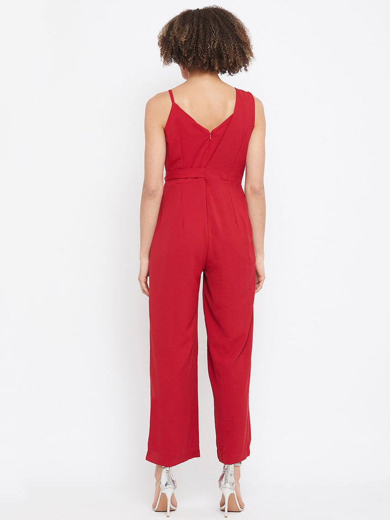 Madame Red Color Jumpsuit For Women