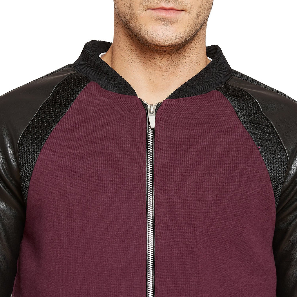 Wine Textured Regular Fit Sweatshirt
