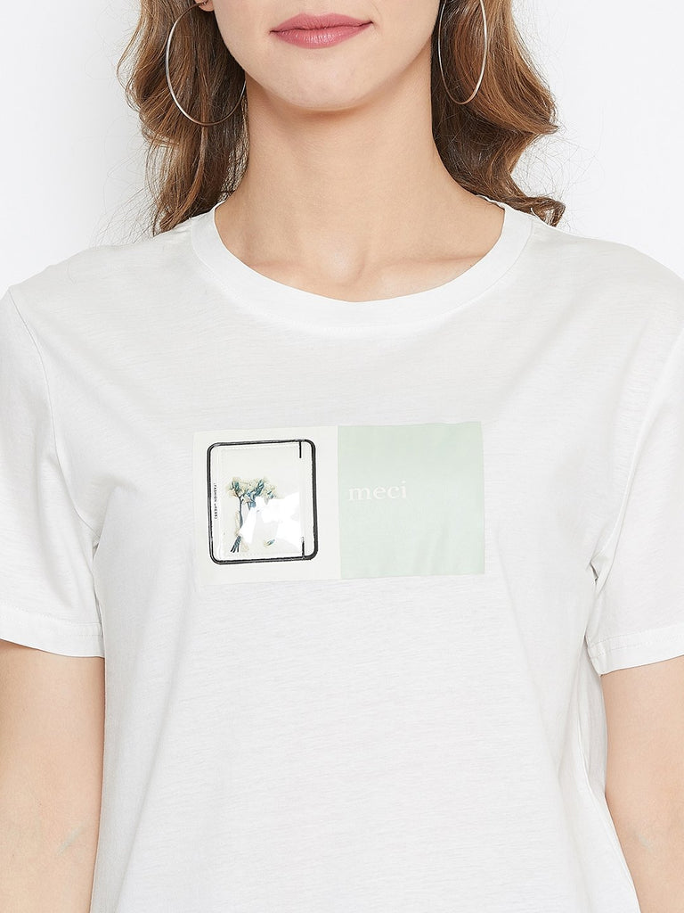 Madame Off White Color Top  For Women
