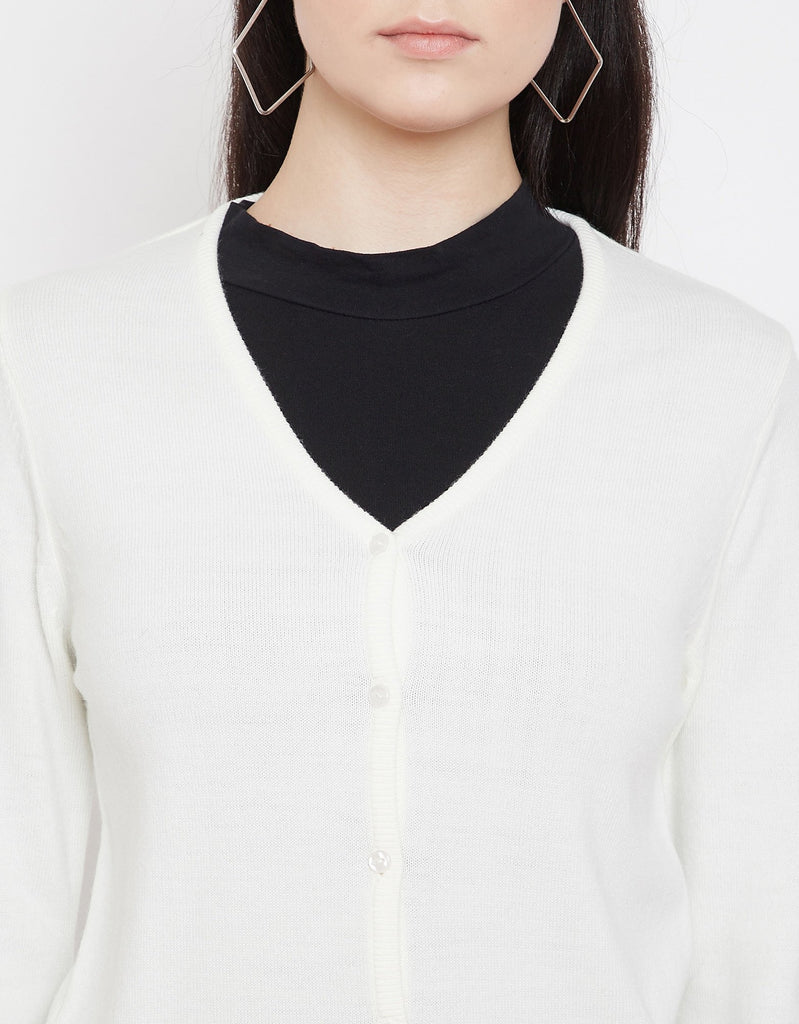 Madame Off White Cardigans For Women