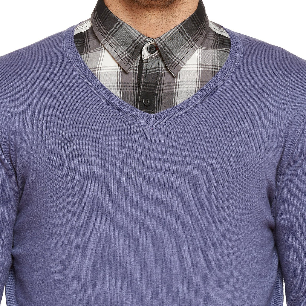 Mens Regular Fit V Neck Slub Sweater