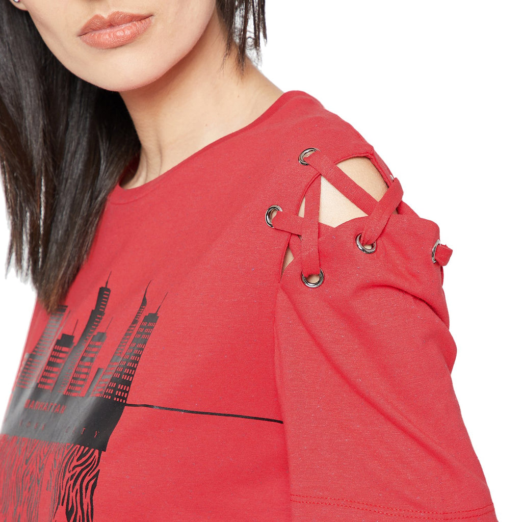 Madame Red Printed Casual Top