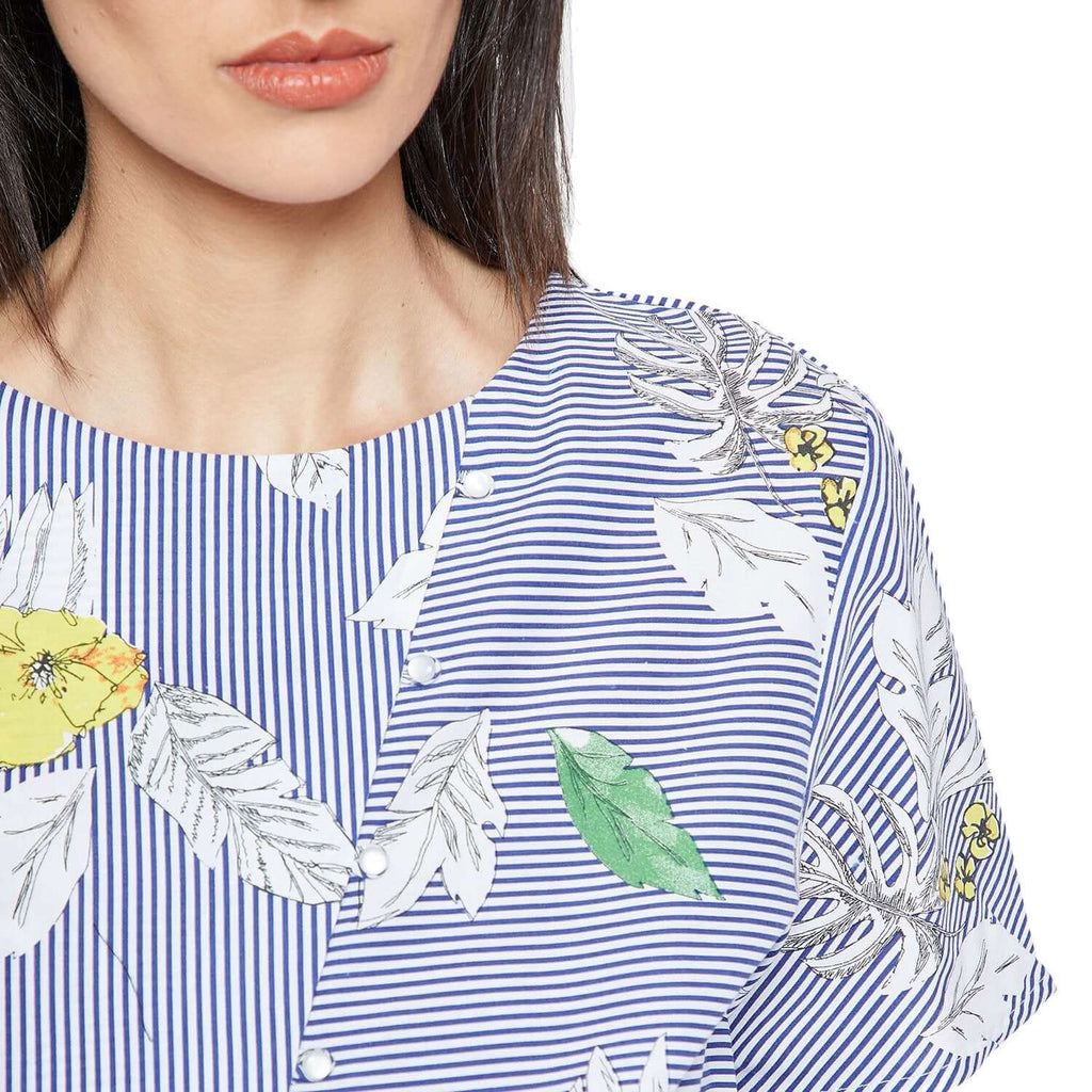 Blue Printed Casual Top