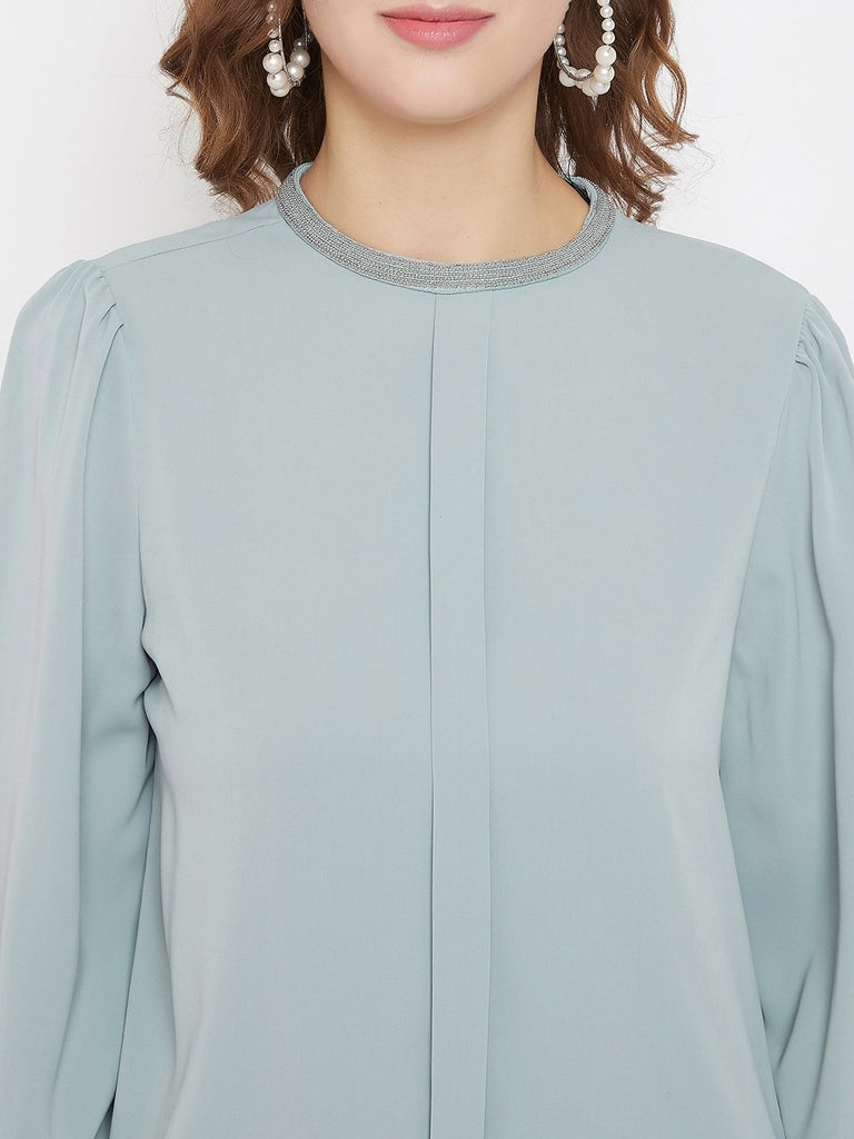 Madame Mint Green Color Top For Women