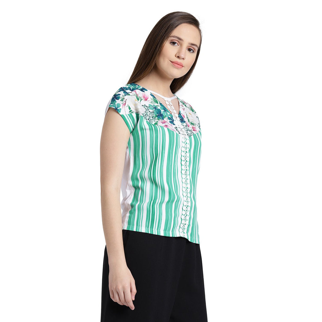 Green Striped Casual Top