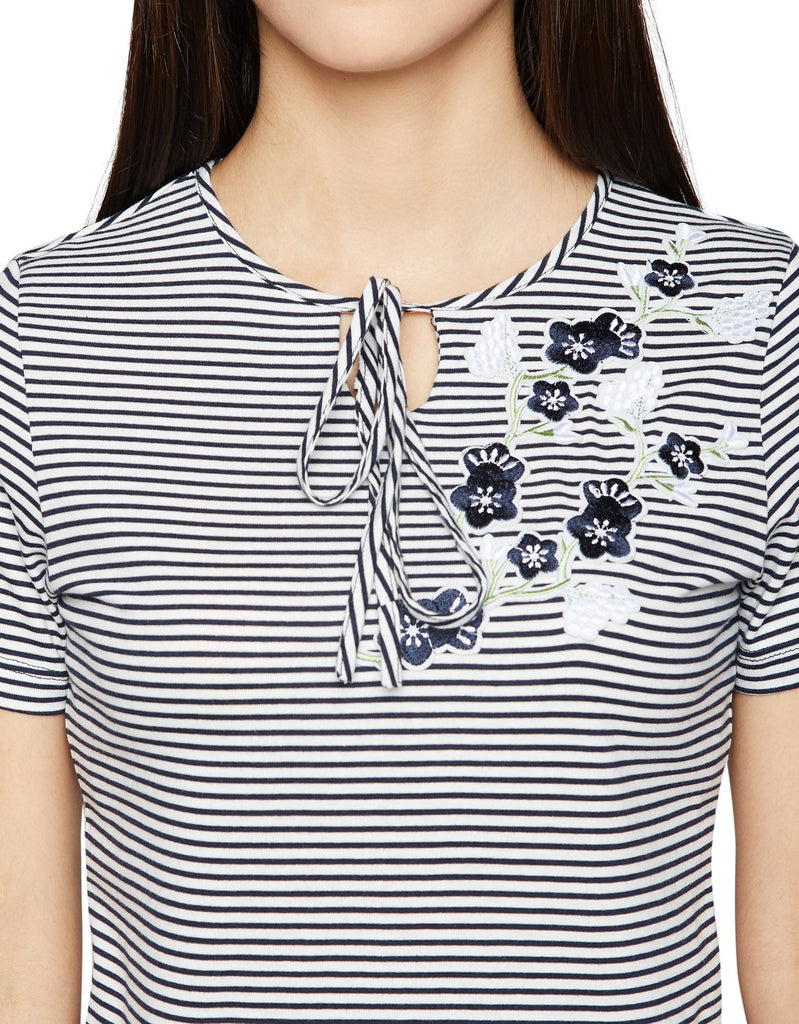 Madame Navy Striped Casual Top