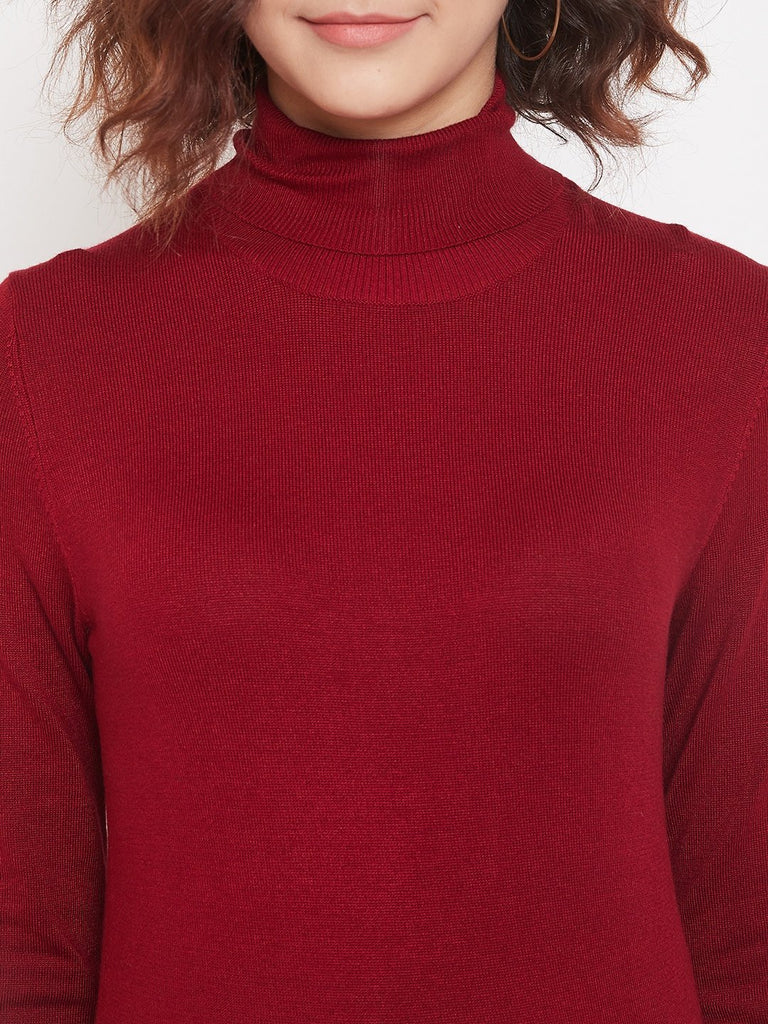Madame Maroon Color Sweater For Women