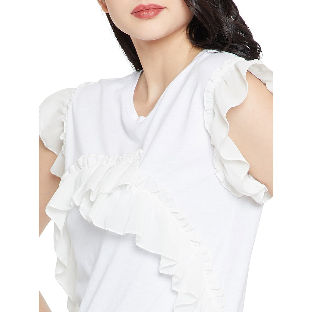 White Solid Casual Top