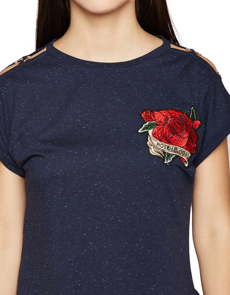 Navy Blue Embroidered Top