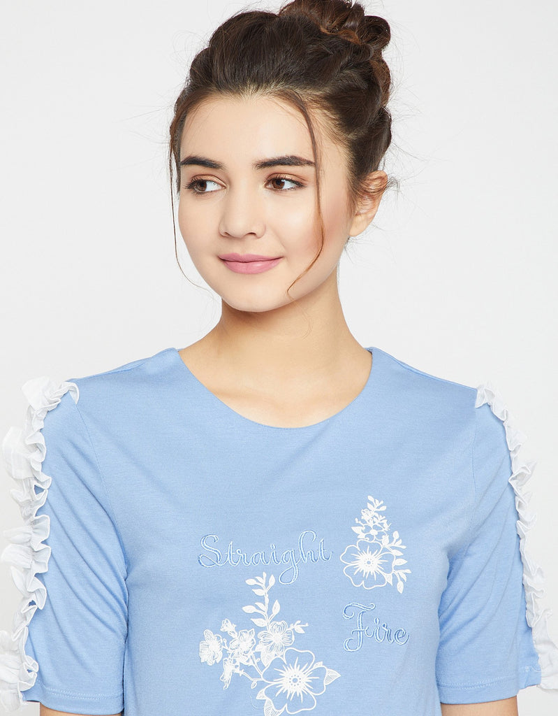 Camla Sky Blue Color Top  For Women