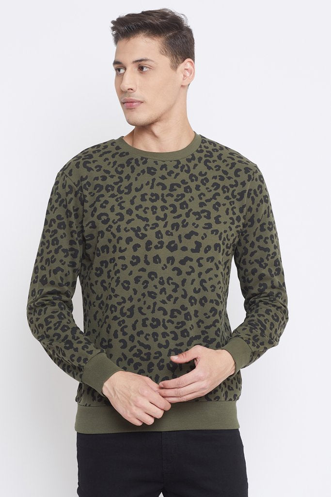 Camla Olive Color Sweat-Shirt For Mens