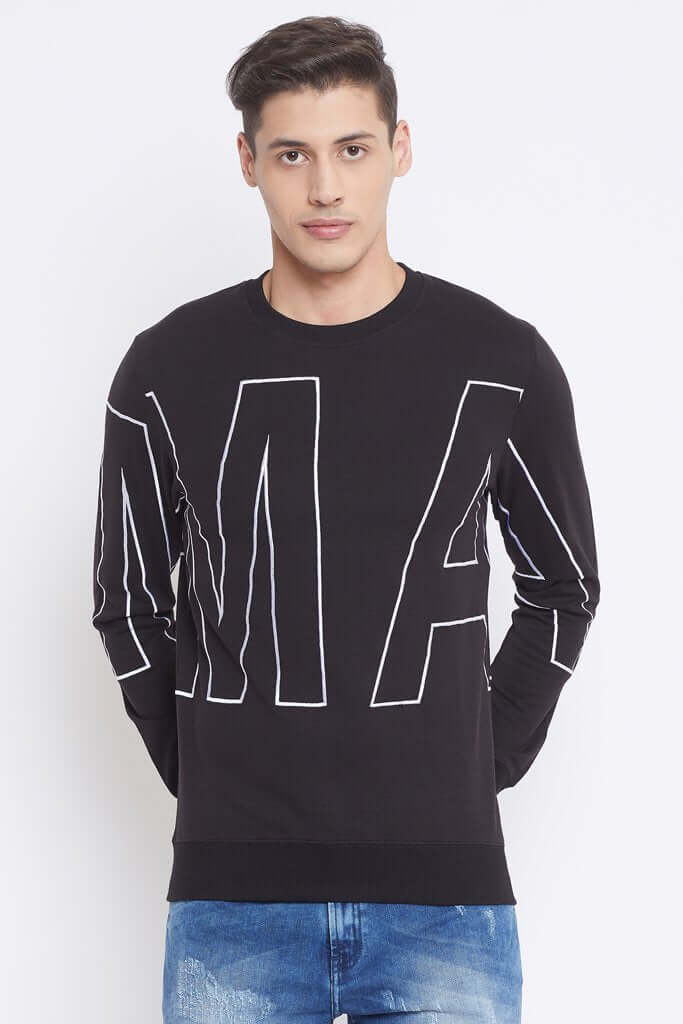 Camla Black Color Sweat-Shirt For Mens