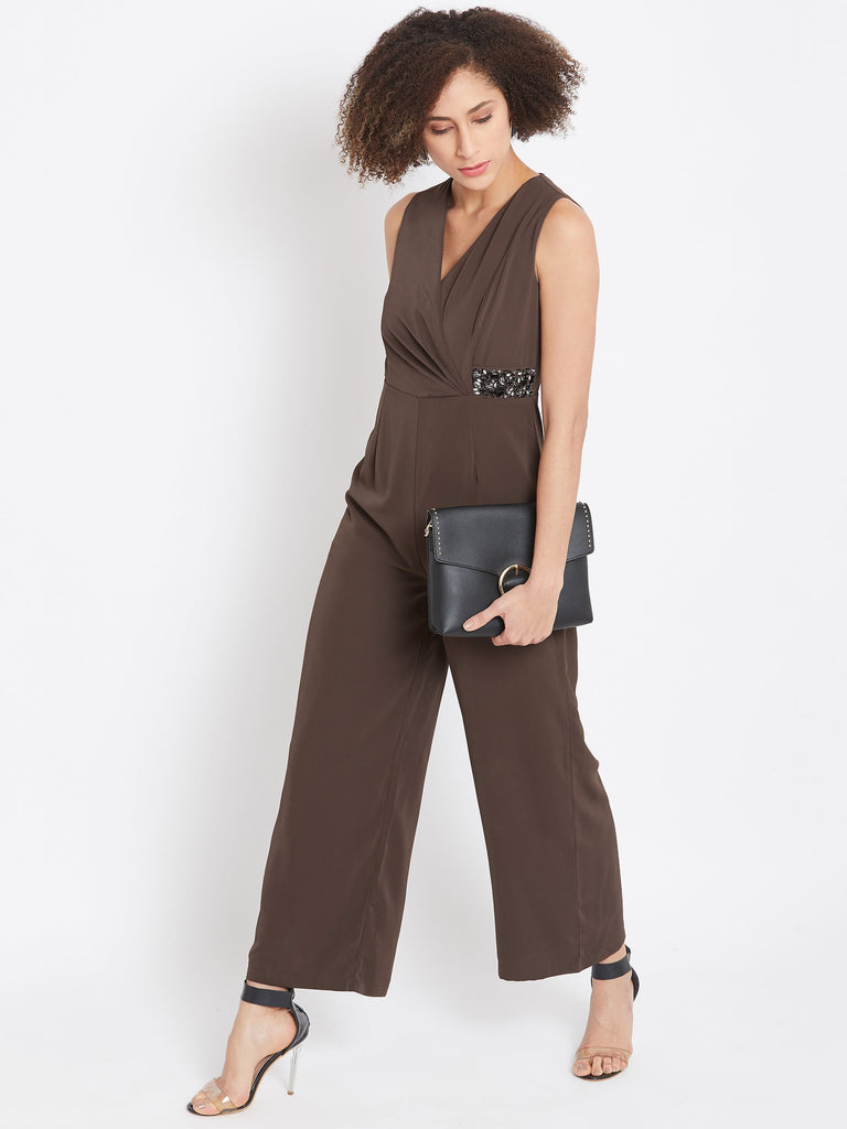 Madame Chocolate Color Jumpsuit For Women