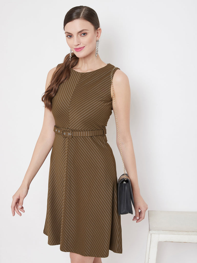 Madame Olive Color Dress For Women