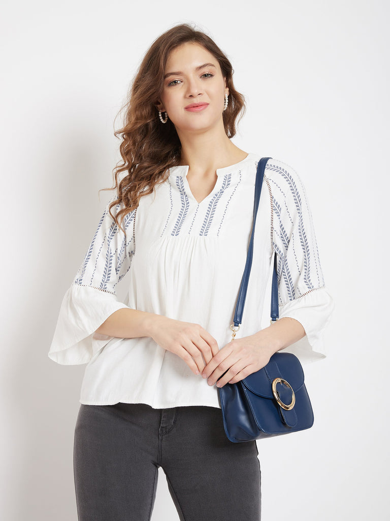 Madame White Color Top For Women