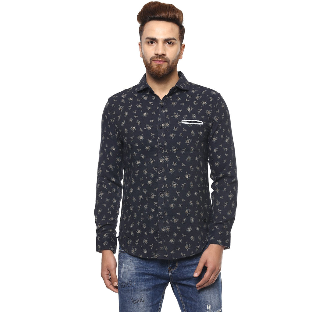 CAMLA Men Navy Blue & Beige Slim Fit Floral Print Casual Shirt-2XL-Navy Blue