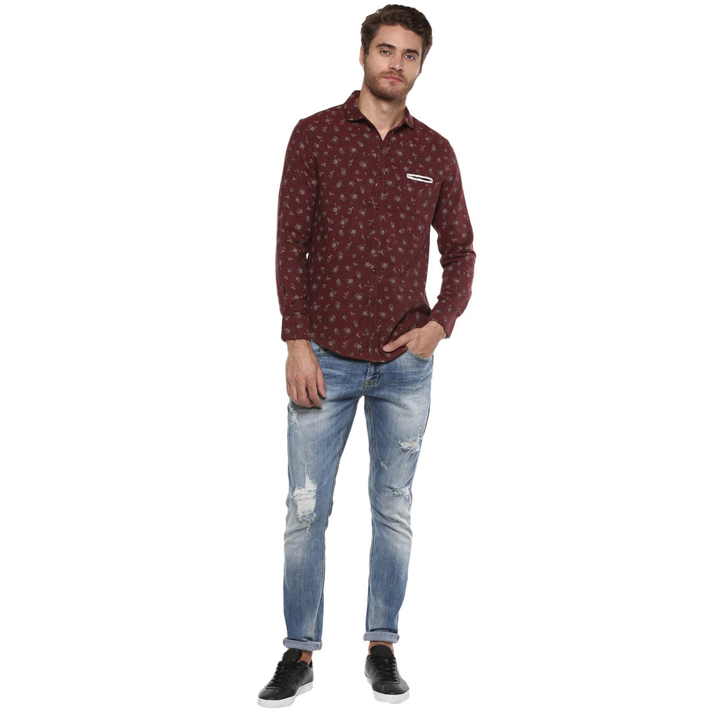 CAMLA Men Burgundy Slim Fit Printed Casual Shirt-2XL-Burgundy