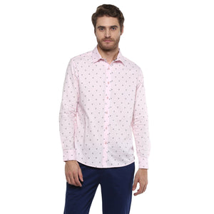 CAMLA Men Pink Slim Fit Printed Casual Shirt-2XL-Pink