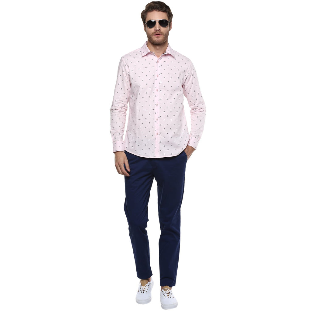 CAMLA Men Pink Slim Fit Printed Casual Shirt