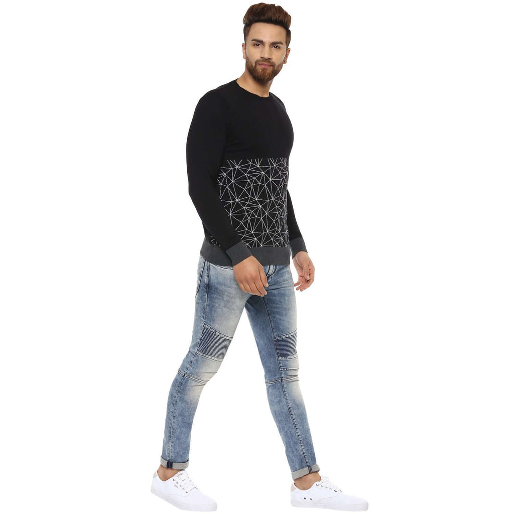 Black Slim Regular Round Neck Sweater