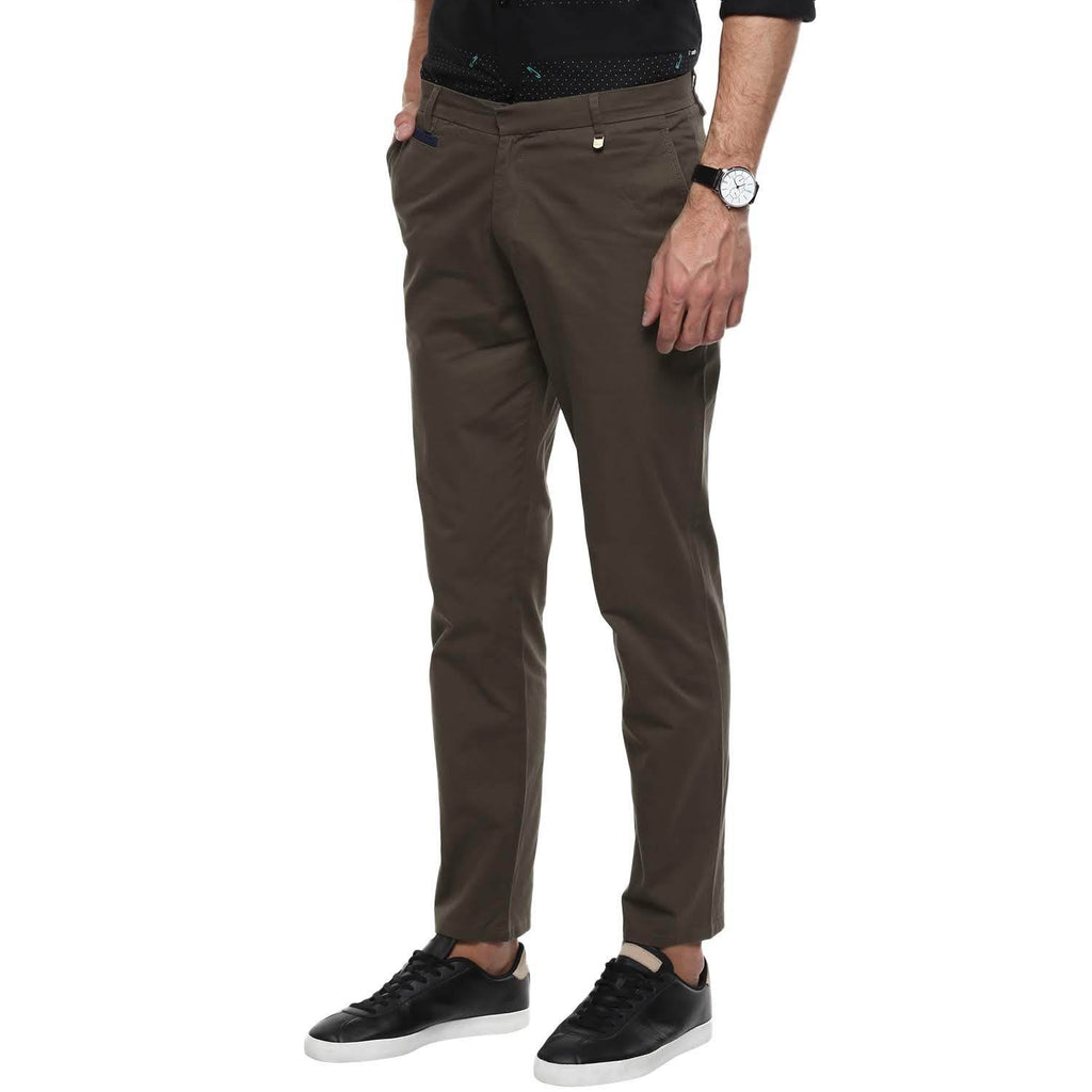 CAMLA Men Olive Green Regular Fit Solid Trousers
