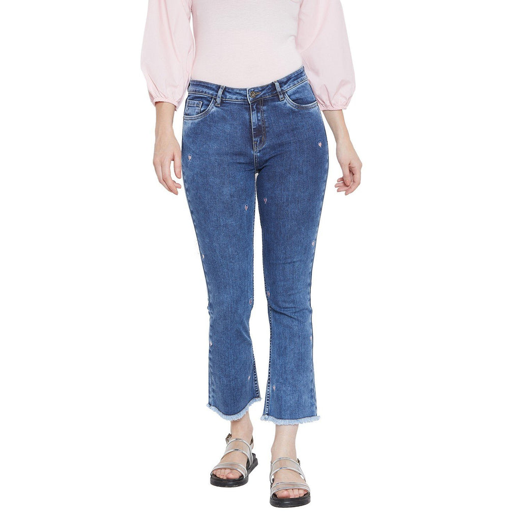 Camla Womens Solids Blue Ankle Denim