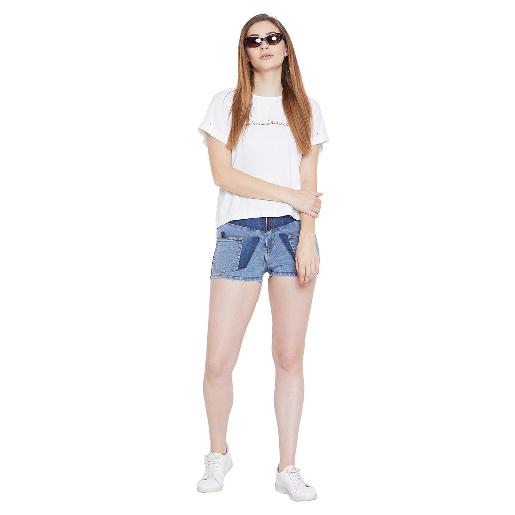 Camla Women Denim Blue Short