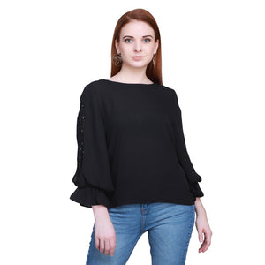 Madame Women Black Textile Top