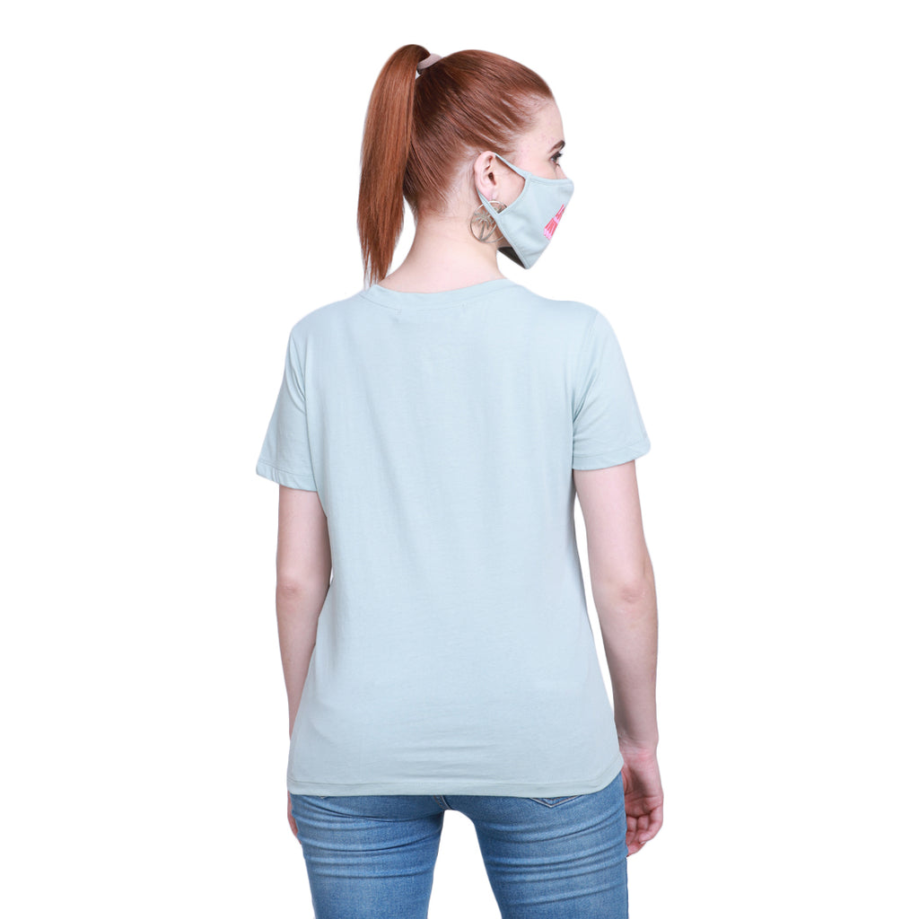 Madame Women Mint Tshirt & Mask Matching Combo (Look Inward )