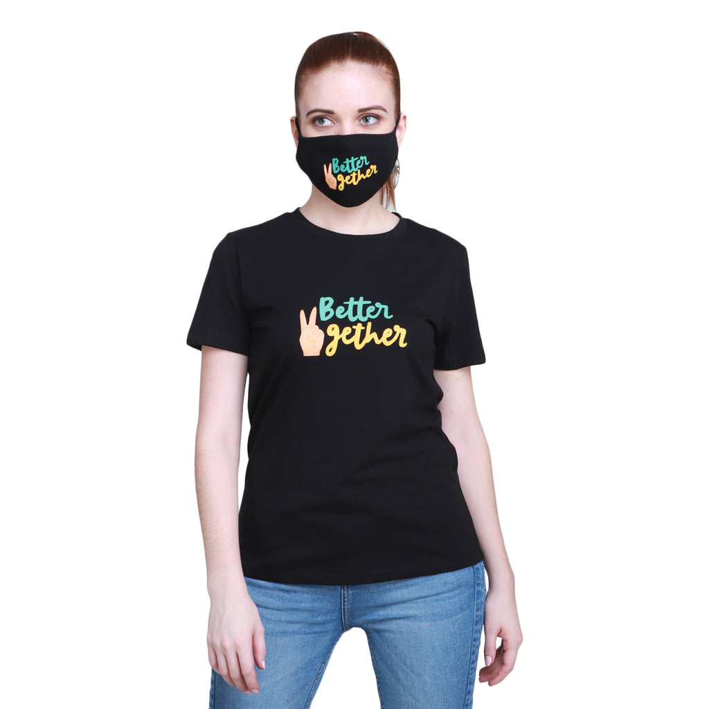 Madame Women Black Tshirt & Mask Matching Combo(Better Together)