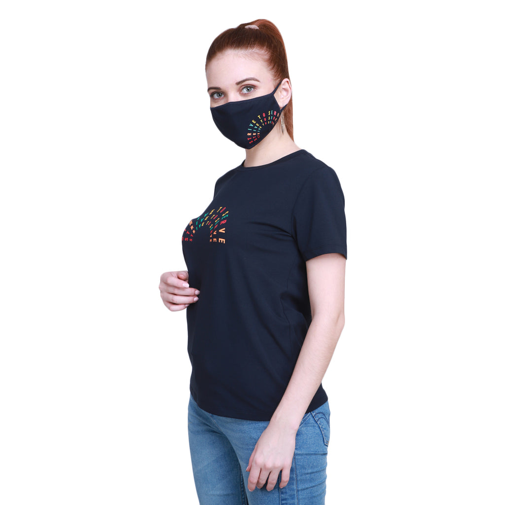Madame Women Navy T-Shirt & Mask Matching Combo(Strive To Serve)