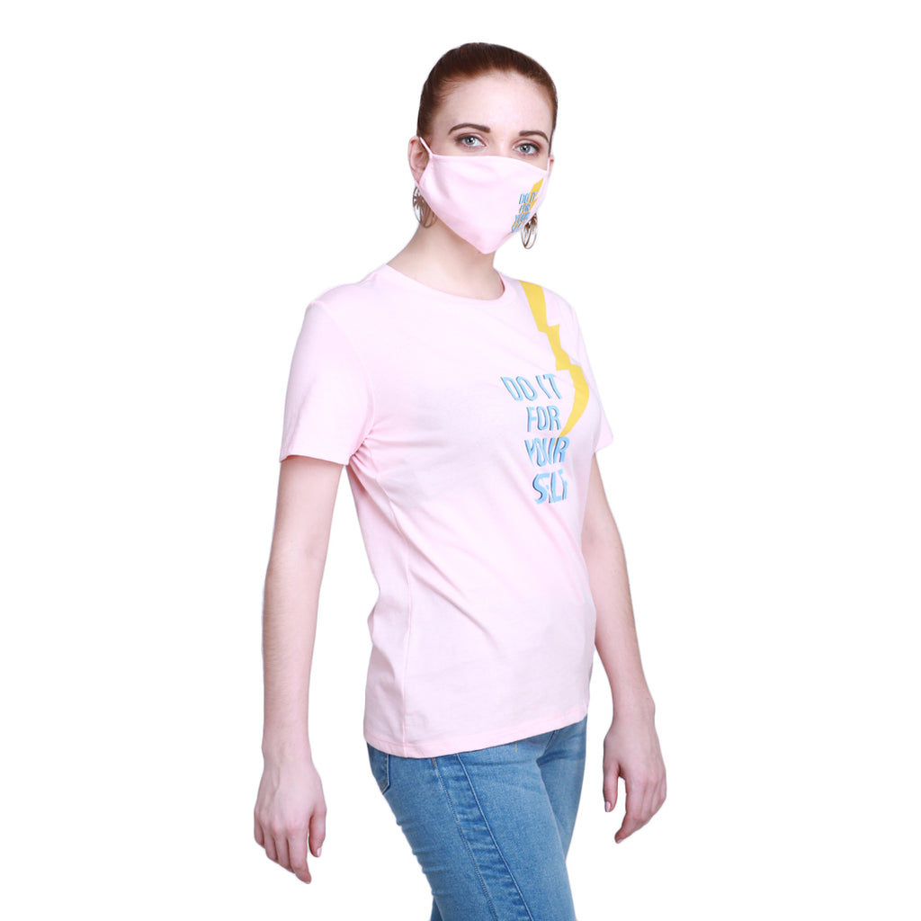 Madame Women Pink T-Shirt & Mask Matching Combo(Do It For Your Self)