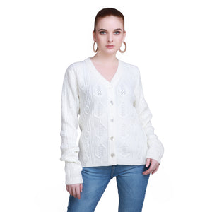 Madame Women Off White Cardigans