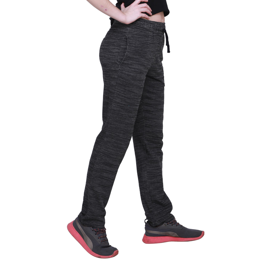 Madame Women Black Track Bottoms