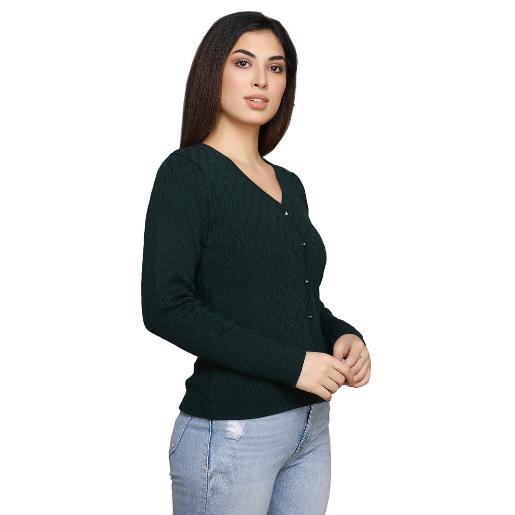Madame Women Green Cardigans