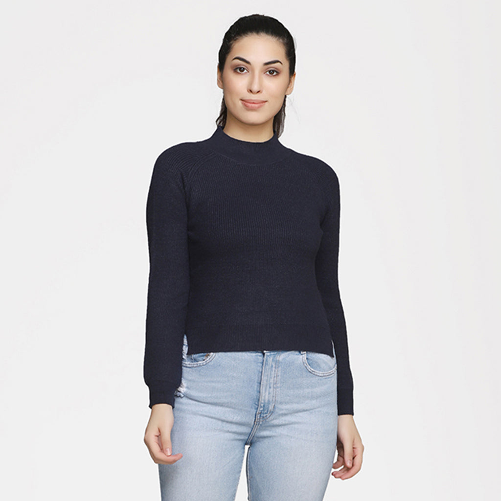 Madame Women Navy Sweater