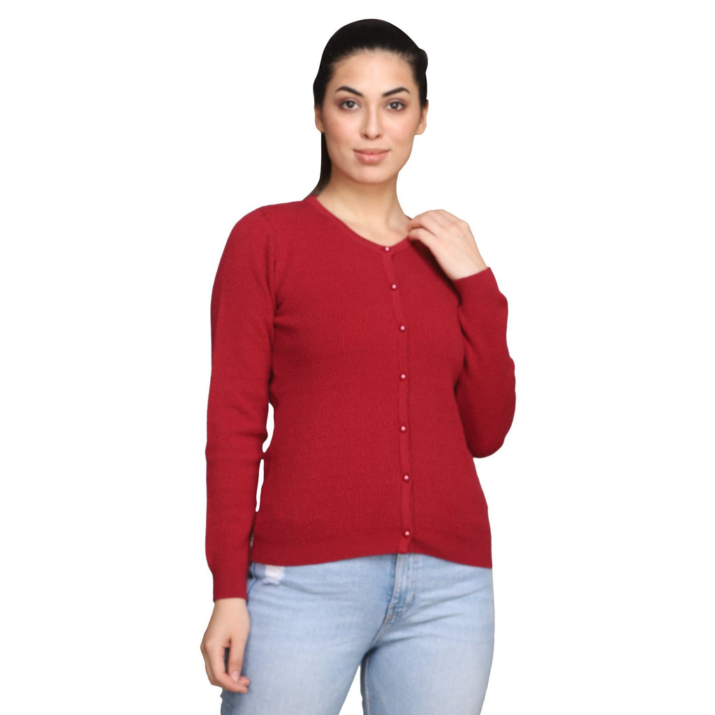 MADAME MAROON Color Cardigan For Womens