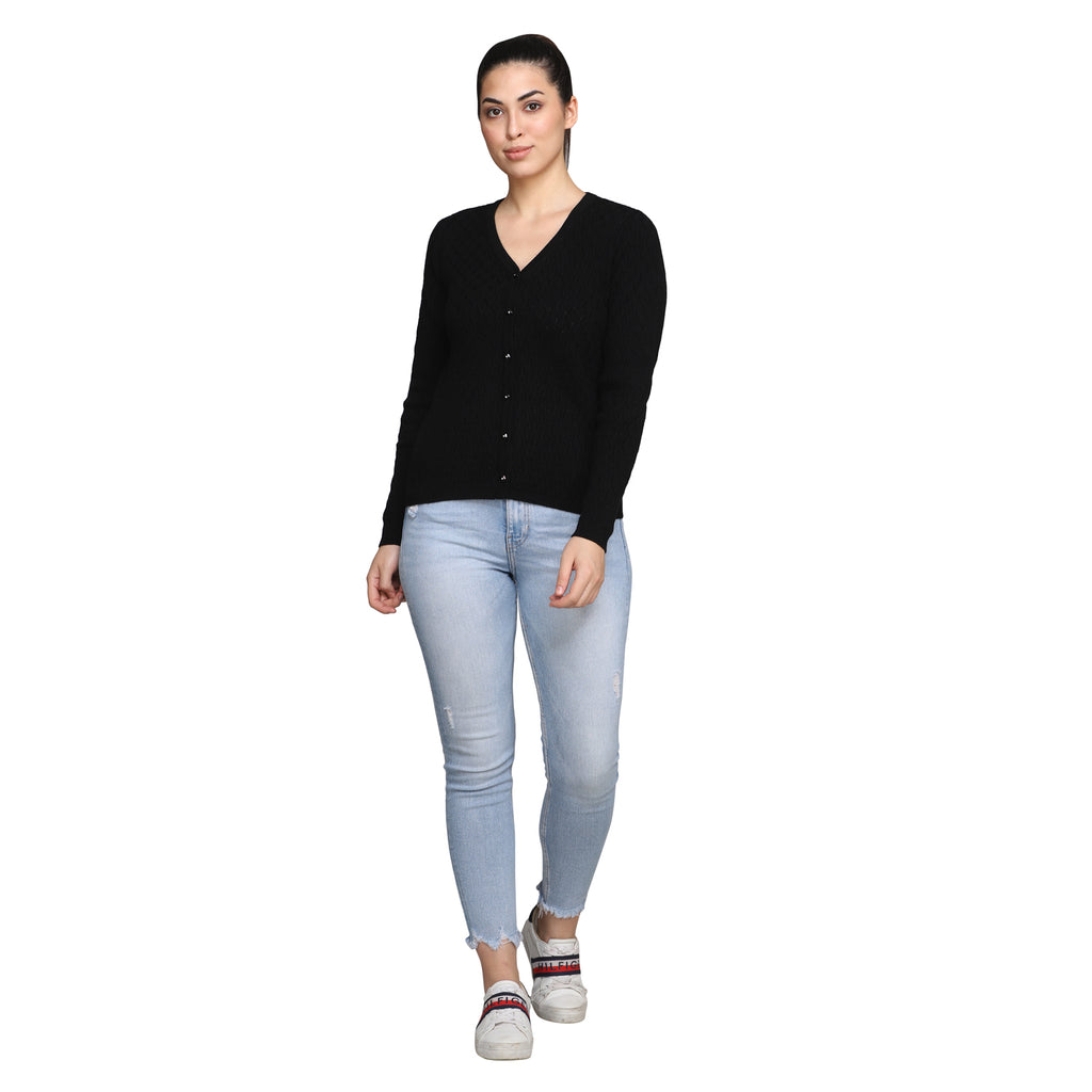 Madame Women Black Cardigans