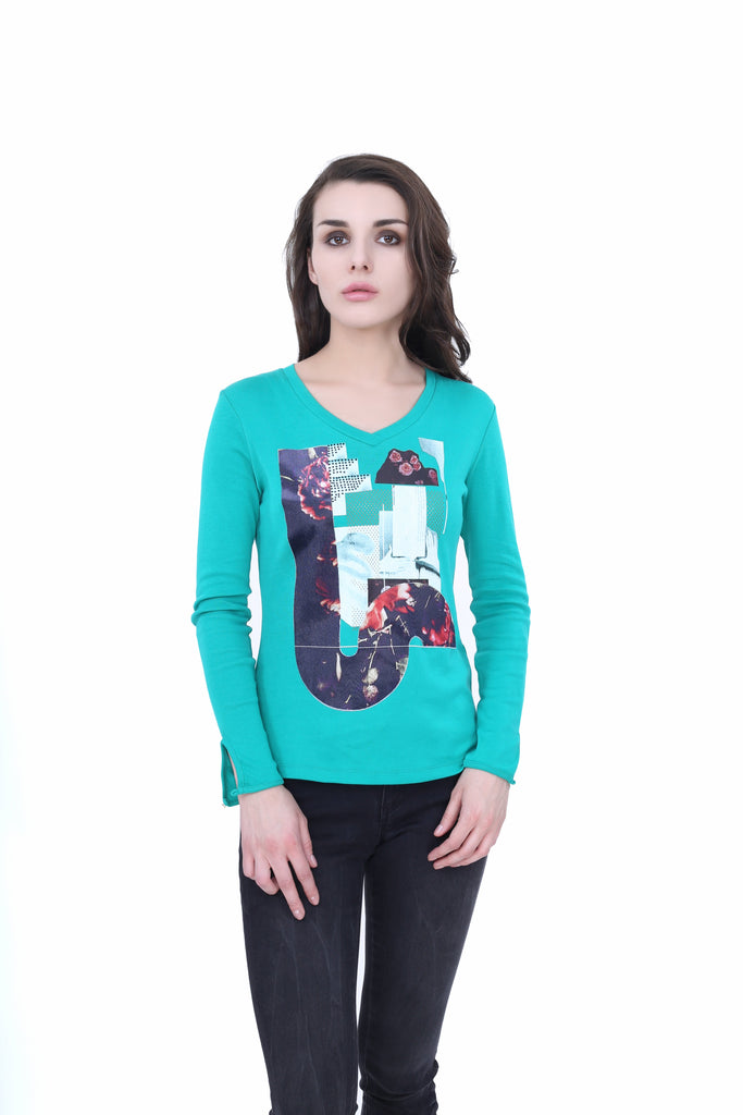 Madame Light Green Color Top For Women