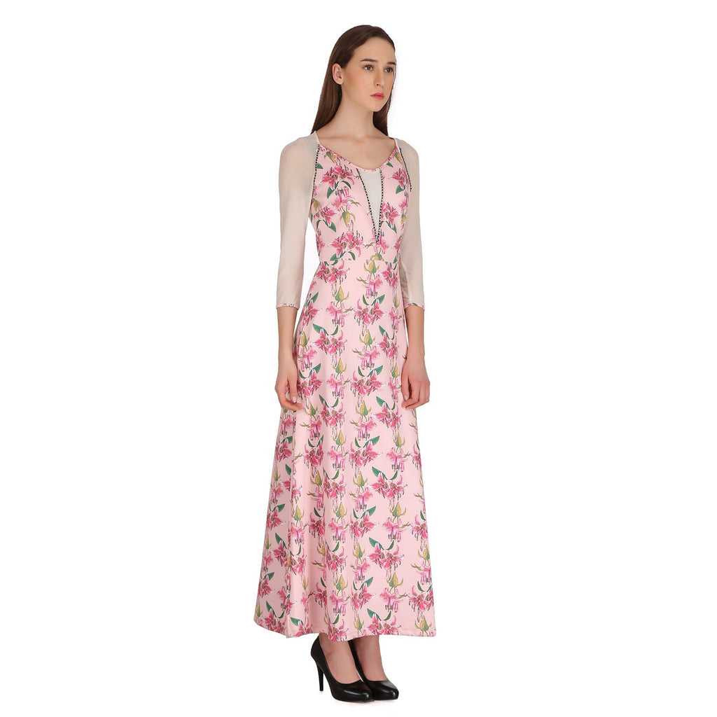 Madame Women Pink Printed Maxi Dress