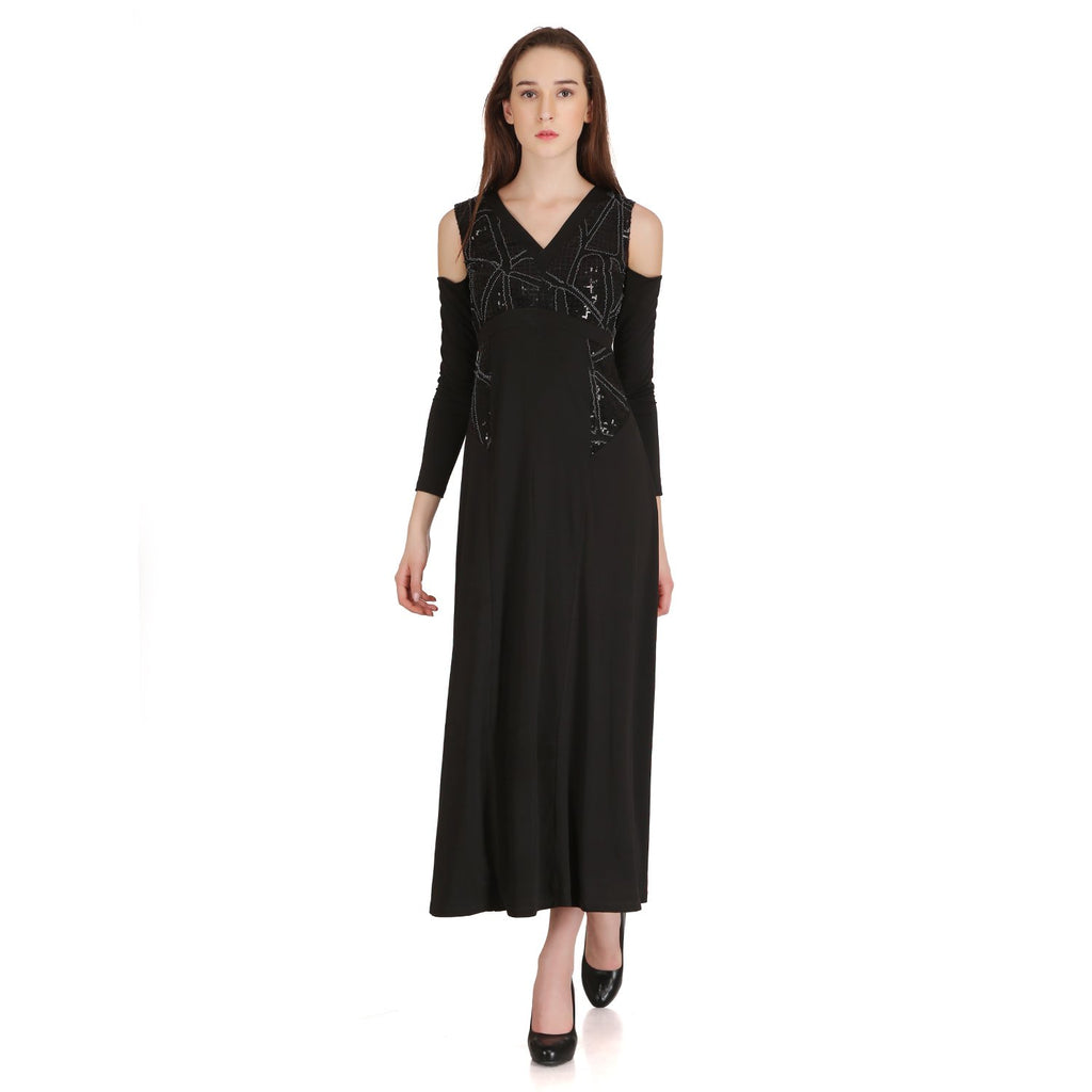 Madame Women Black Embellished Cold-Shoulder Maxi Dress